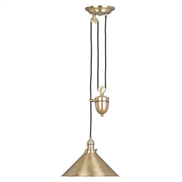 Elstead Lighting PV/P AB Provence Rise and Fall Pendant in Aged Brass finish.