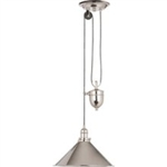 Elstead PV/P PN Provence Rise and Fall Pendant in Polished Nickel finish.