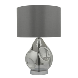 Dar Lighting QUI4210 Quinn Smoked Glass Table Lamp with Grey Shade.
