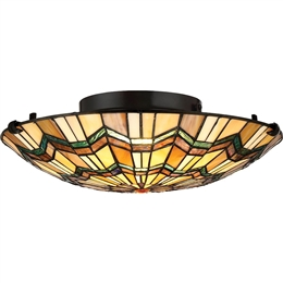 Elstead QZ/ALCOTT/F Alcott Tiffany 2 Light Flush Ceiling fitting