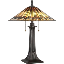 Elstead QZ/ALCOTT/TL Alcott 2 Light Tiffany Table Lamp