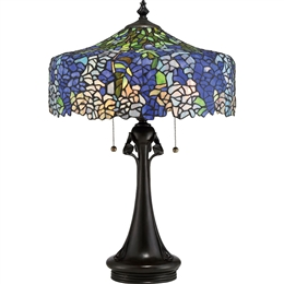 Elstead QZ/COBALT/TL Cobalt 3 Light Tiffany Table Lamp