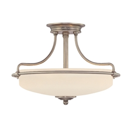 Elstead QZ/GRIFFIN/SFSAN 3 Light Semi-Flush fitting in Antique Nickel Finish