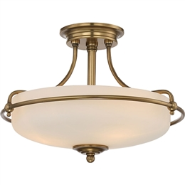 Elstead QZ/GRIFFIN/SFSWS 3 Light Semi-Flush fitting in Weathered Brass Finish