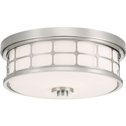 Elstead QZ/GUARDIAN/F BN Guardian 2 Light Flush Bathroom Ceiling light in Brushed Nickel finish