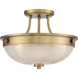 Elstead QZ/MANTLE/SF WS Mantle 2 Light Semi-Flush fitting in Weathered Brass finish