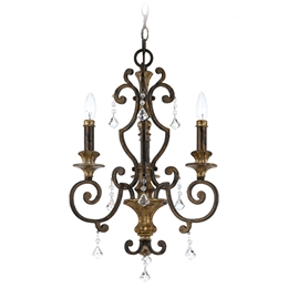 Elstead QZ/MARQUETTE3 Marquette 3 Light Chandelier in Heirloom finish.