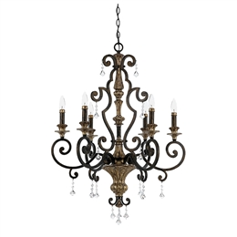 Elstead QZ/MARQUETTE6/A Marquette 6 Light Chandelier in Heirloom finish.