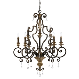 Elstead QZ/MARQUETTE9 Marquette 9 Light Chandelier in Heirloom finish.