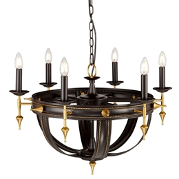 Elstead REGAL6 Regal 6 Light Chandelier in Oil Rubbed Bronze/Gold Finish