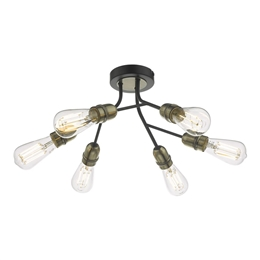 Dar REM0654 Remy 6 Light Semi-Flush Fitting in Black and Antique Brass finishes