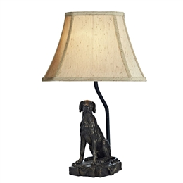 Dar ROV4263/X Rover Bronze Metal Dog Sculpture Table Lamp