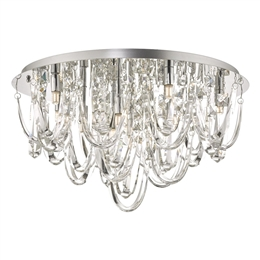 Dar ROX4850 Roxanne Crystal 11 Light Flush Fitting