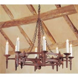 IMPEX SMRR0138/A Baronial 8 Light Iron Fitting in aged finish.