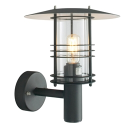 Elstead ST1 Stockholm Exterior Wall Lantern in Black finish.