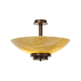 KANSA STRATTON28 Stratton Pendant Up Lighter with Amber White Glass