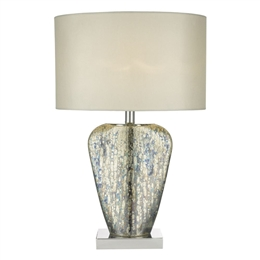 Dar SYR4235 Syracuse Glass Table Lamp with Cream Shade