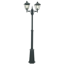 Elstead Norlys T6 Turin Black Twin Headed Lamp Post