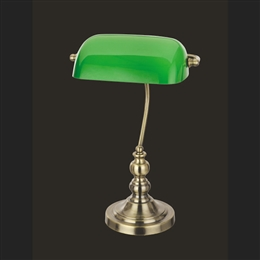 Impex TB305101/GRN/AB Bankers Lamp in Antique Brass