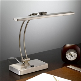 Franklite TL892 LED Desk Lamp in Satin Nickel finish.