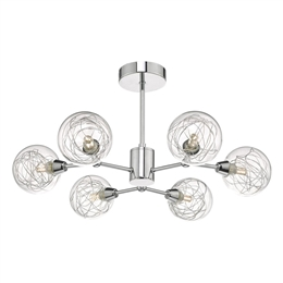 Dar TYK6450 Tyka 6 Light Semi-Flush fitting with decorative glasses