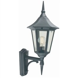 Elstead Norlys V1 Black Gold Valencia Up Pointing Wall Lantern.