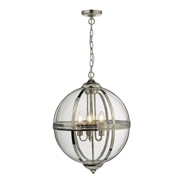 Dar VAN0338 Vanessa 3 Light Pendant in Polished Nickel and Clear Glass
