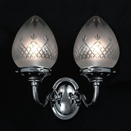 KANSA WALL78 Double Pinestar Wall Light with Etched Glass in Chrome finish