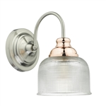 Dar Lighting WHA0746 Wharfdale 1 light Wall Light in Satin Chrome finish