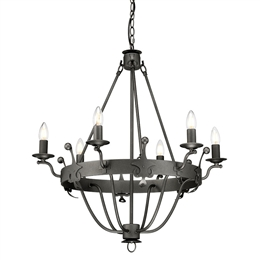 Elstead WINDSOR6 GR Windsor 6 Light Chandelier in Graphite finish