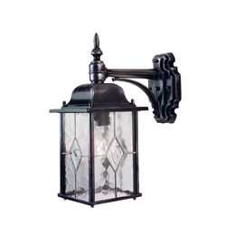Elstead WX2 Wexford 1 Light Black Silver Down Wall Lantern