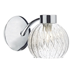 Dar Lighting YAS0750 Yasmin Single Light Wall Light with Decorative Glass Shade