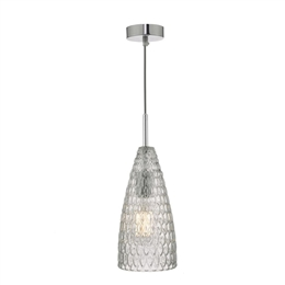 Dar ZUK0108 Zuka Single Pendant with Textured Glass shade